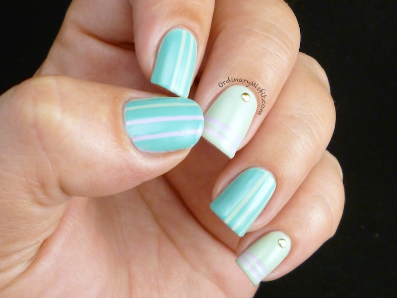 Minty stripes & studs nail art 4