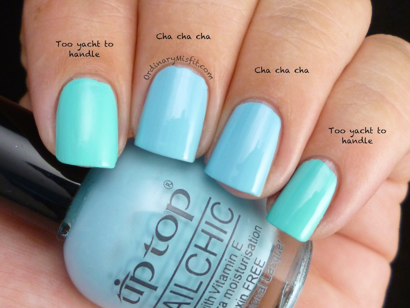 Comparison: China Glaze – Too yacht to handle vs Tip Top – Cha cha ...