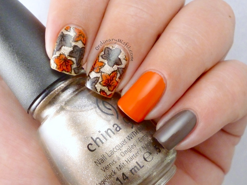 Autumn leaves nail art 3