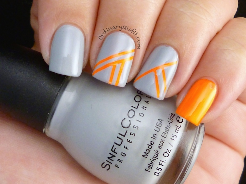 Orange stripes nail art