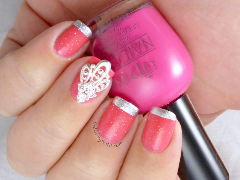 Pink french with nail veil nail art