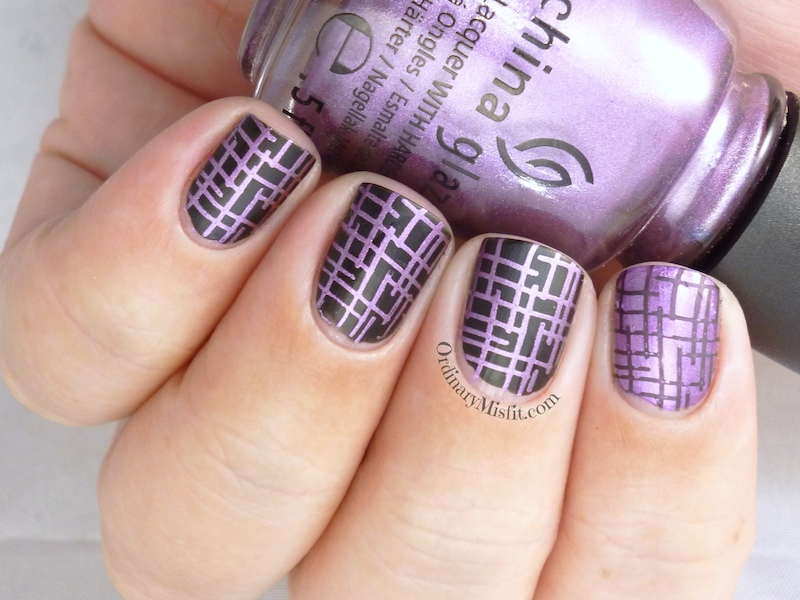 Purple and black nail art 2