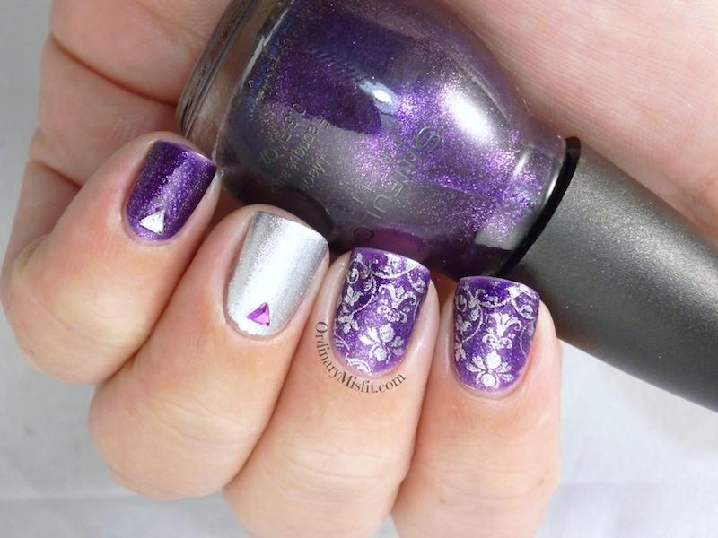 Purple glitter and silver nail art 3