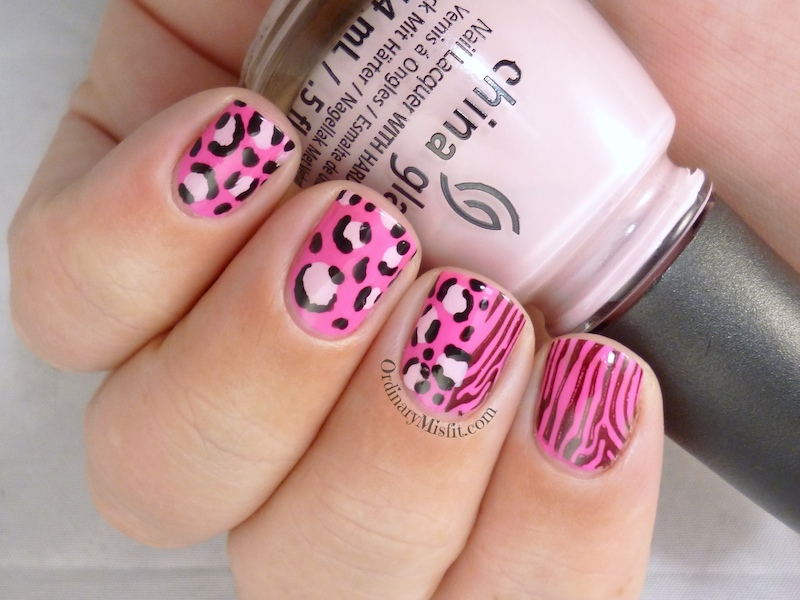 TBT hot pink safari nail art