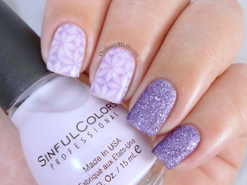 Lilac stamp sandwich nail art 2