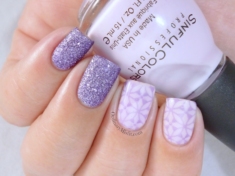 Lilac stamp sandwich nail art 3