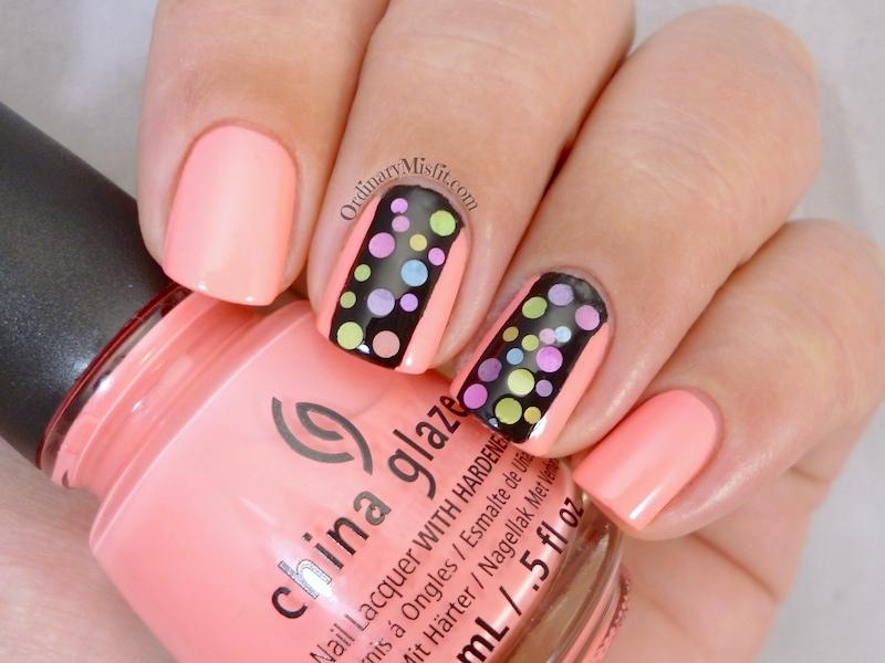 Neon polka dot nail art v2.0 2