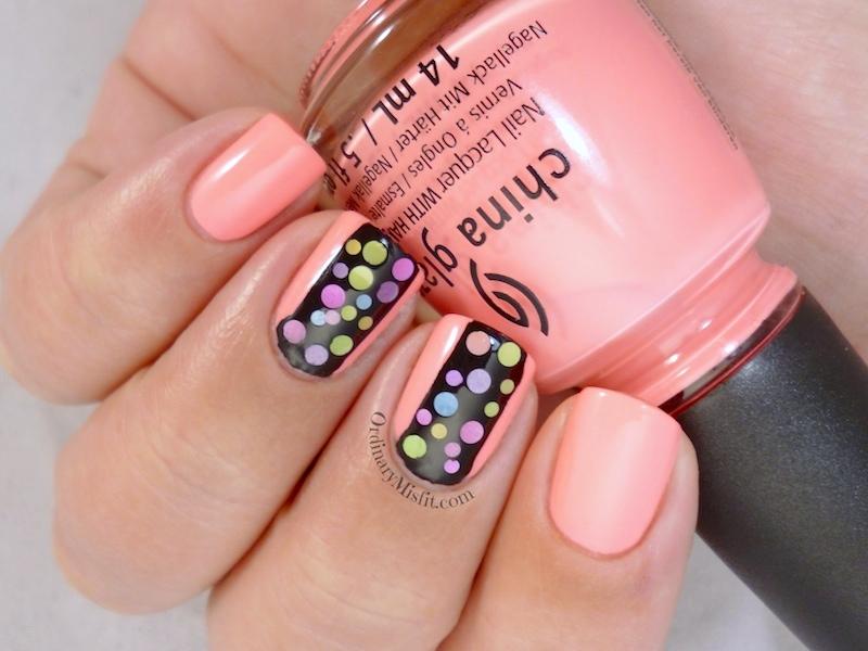 Neon polka dot nail art v2.0  3