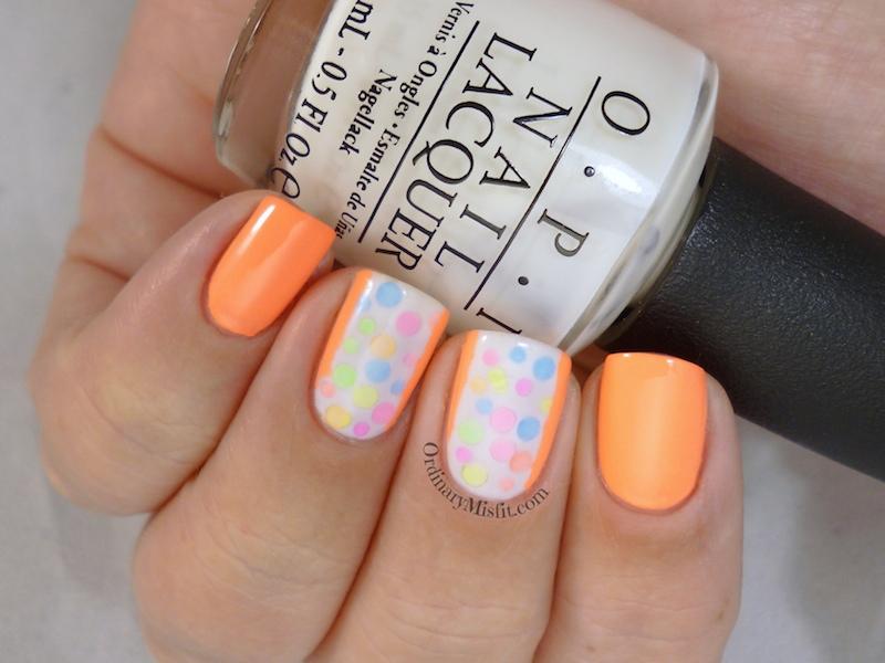 Neon polka dots nail art 3