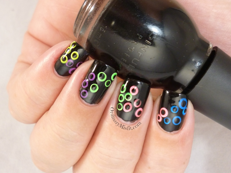 neon gradient spots nail art 3