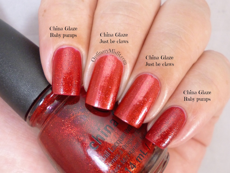 Comparison China Glaze - Just be-claws vs China Glaze - Ruby pumps 2