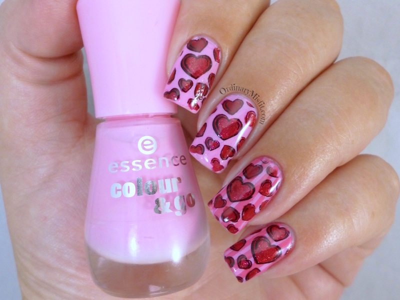 Valentine hearts and stripes nail art 3