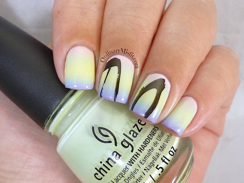Easter Gradient nail art 2