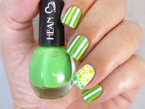 Hean I love Hean collection #809 with nail art green stripes taped tape polka dots