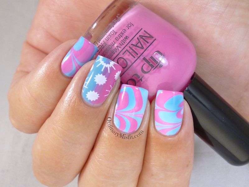 Summer Watermarble nail art 2
