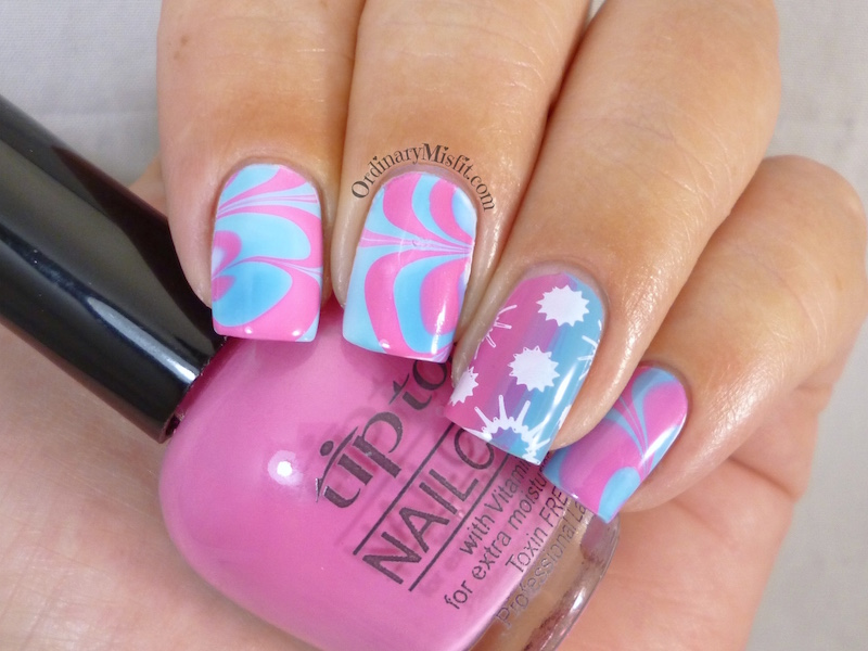 Summer Watermarble nail art