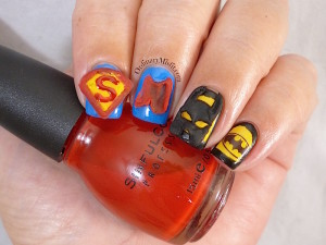 Nail Anarchy April batman vs superman nail art