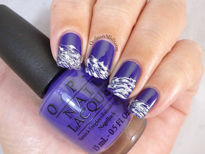 Purple and Silver sugar spun nail art