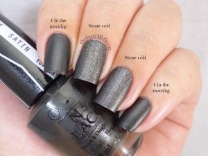 Comparison China Glaze stone cold vs OPI 4 in the morning