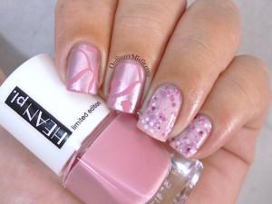 Pink stamped nail art