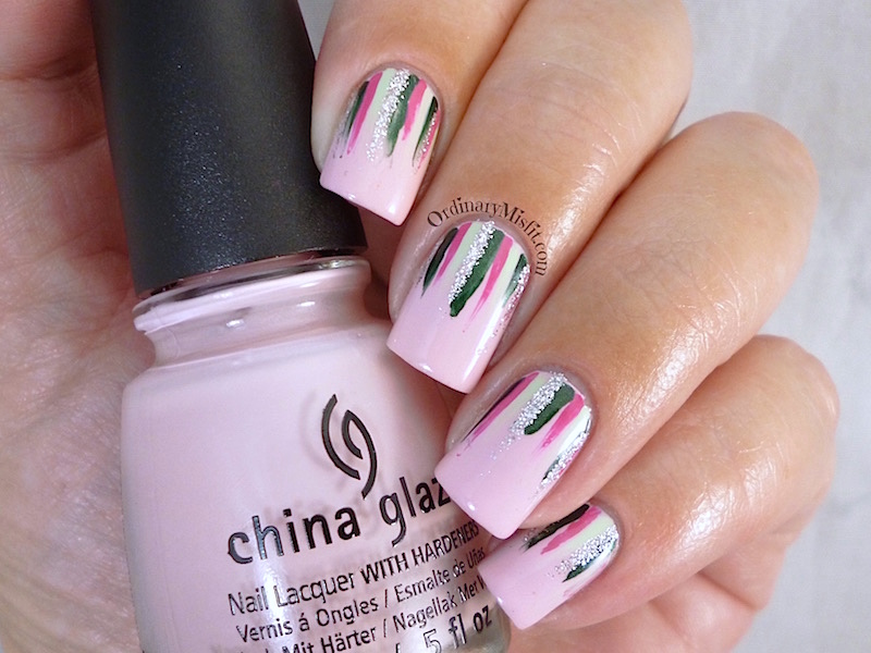 Twinsies Pink & green waterfall nail art