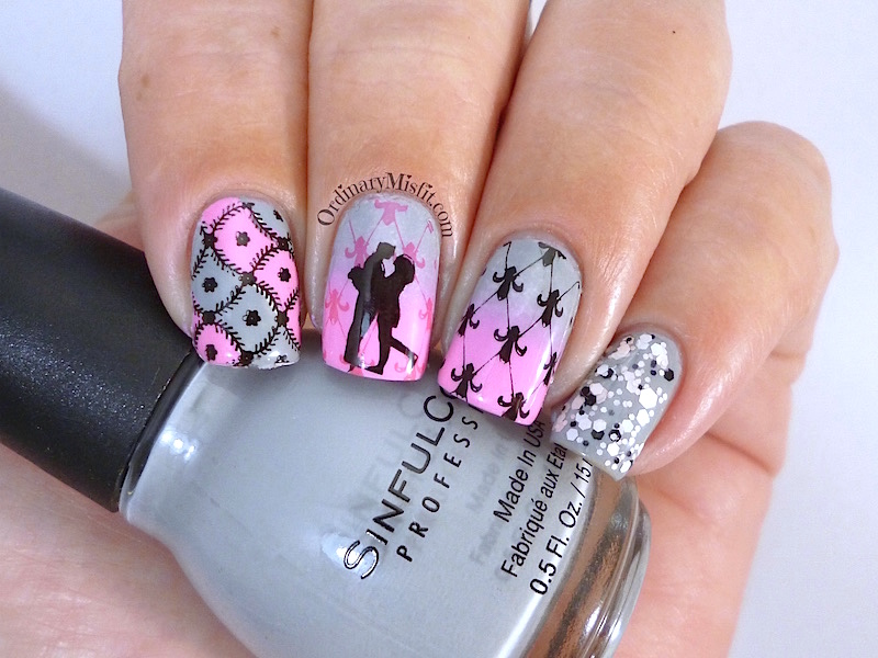 Born Pretty Store Stamping PLate BP L016 nail art pink and grey