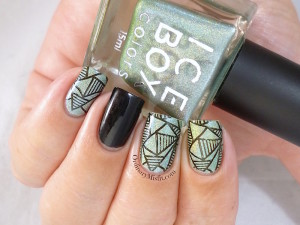 Miami Lights stamped nail art