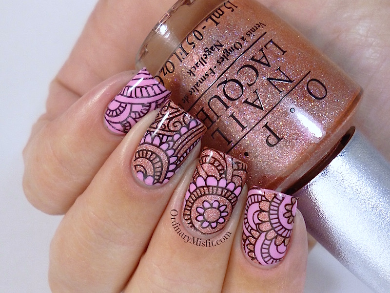 Pink nail art with Born Pretty Stpre plate BP-48