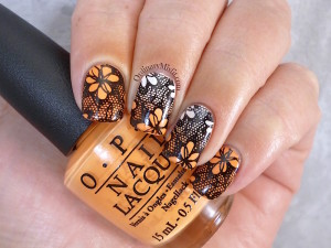Born Pretty Store BP L020 orange gradient stamped nail art
