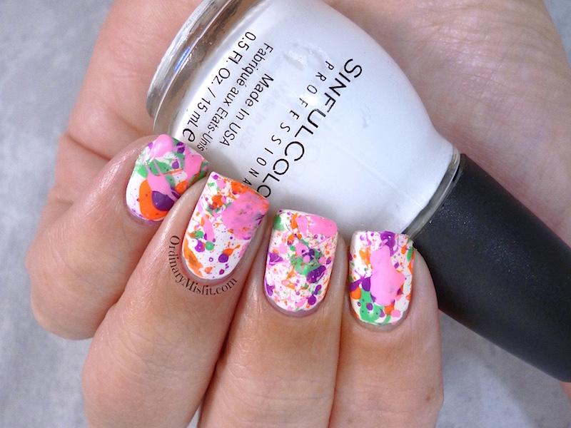 The Color Run splatter nail art