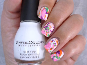 The Color Run splatter nail art