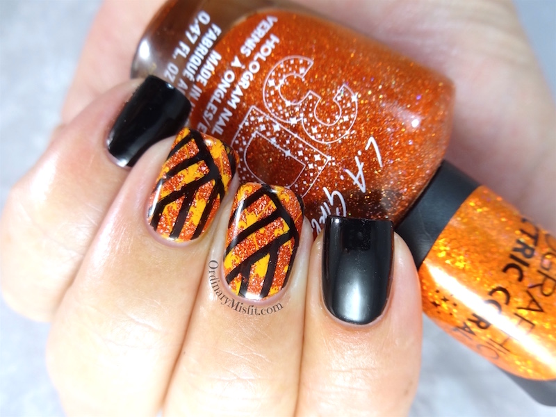 Black and orange stamping