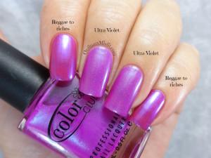Comparison- China Glaze - Reggae to riches vs Color Club - Ultra violet