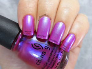 Comparison- China Glaze - Reggae to riches vs Color Club - Ultra violet