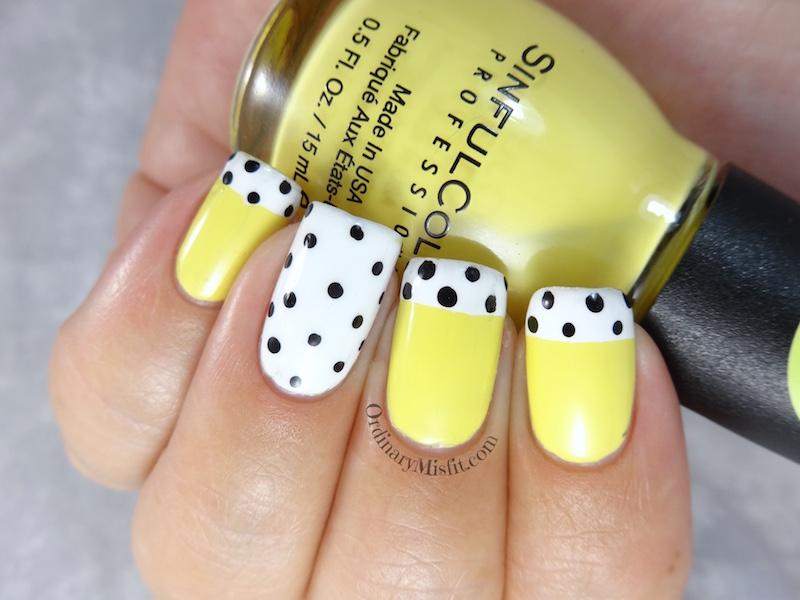 NailLinkup yellow polka dot bikini nail art