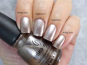 Comparison -China Glaze - Swing baby vs Sinful Colors - Supernova