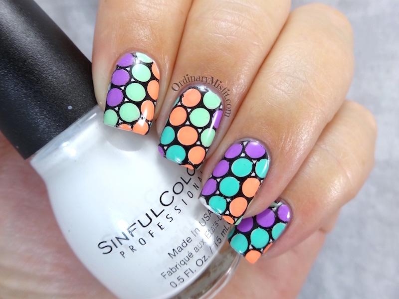 Neon polka dot stamping