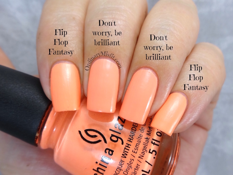Comparison - China Glaze - Flip flop fantasy vs Morgan Taylor - Don't worry, be brilliant
