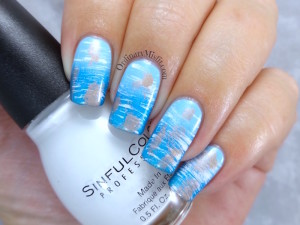 NAILLinkup March - Aquamarine nail art
