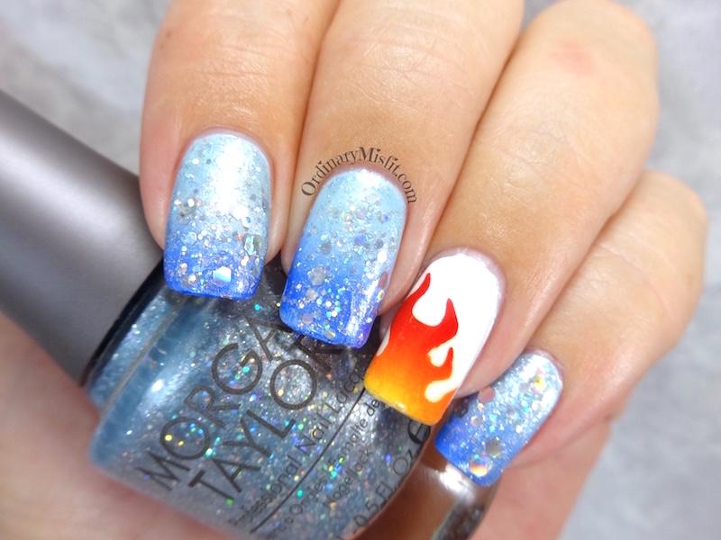 NAILLinkup March – Fire & Ice nail art 3 – OrdinaryMisfit