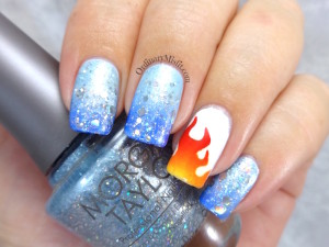 NAILLinkup March - Fire & Ice nail art