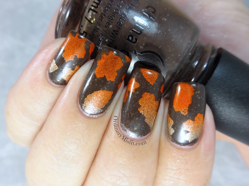 NAILLinkup April - leaves nail art