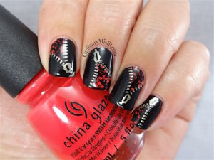 Unzipped in a hot flash nail art