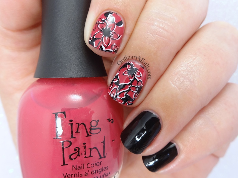 Shadow flowers nail art