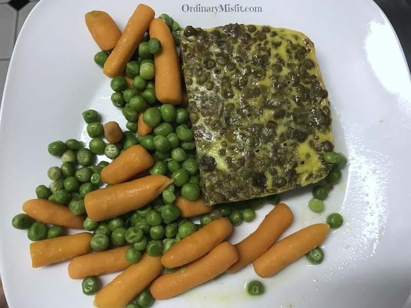 Vegetarian lentil bobotie, carrots and peas