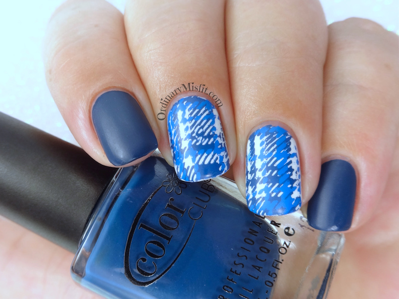 Blue plaid nail art BPL-041