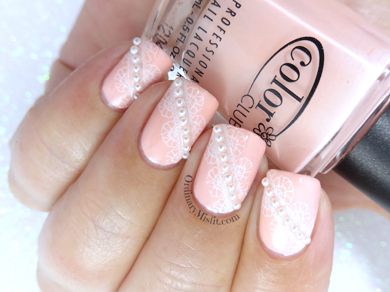 Pearls and Lace nail art | OrdinaryMisfit
