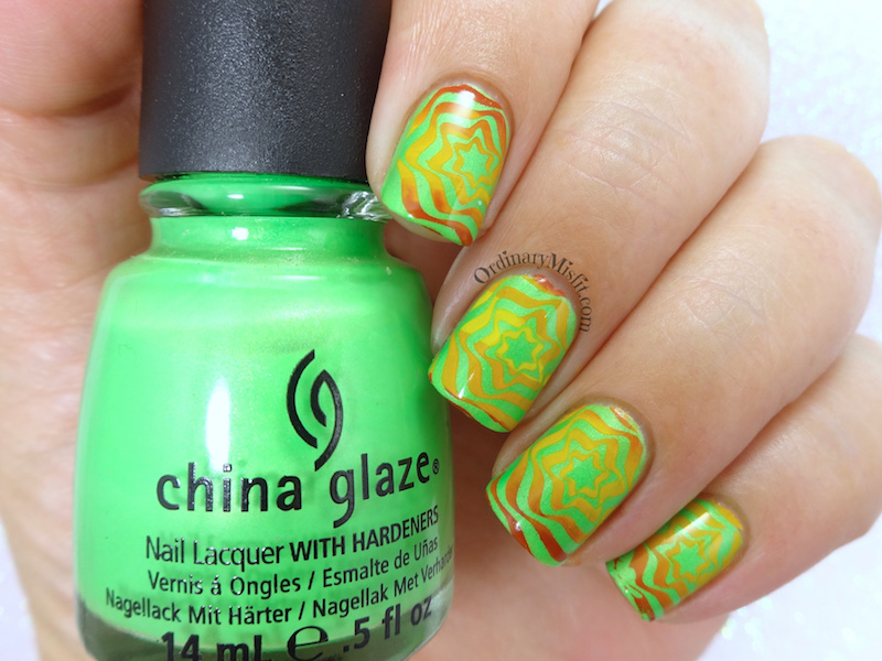 BP-L050 gradient green swirl nail art