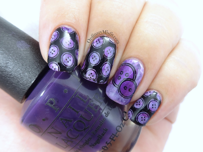 Purple smoosh buttons nail art