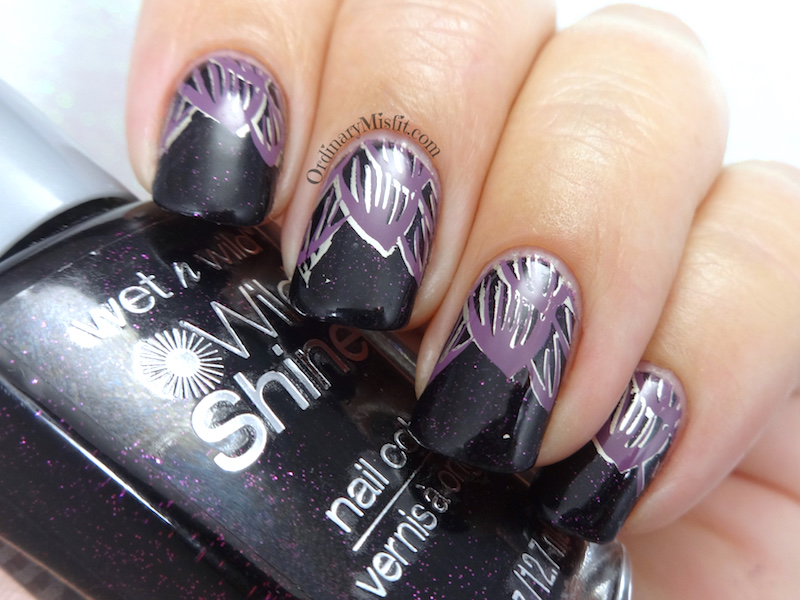 Night petals nail art